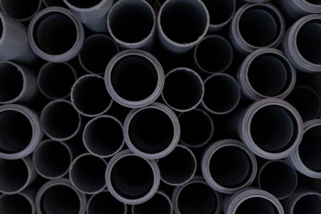 Zbliżenie Rur Z Polichlorku Winylu Czarnego Premium Zdjęcia