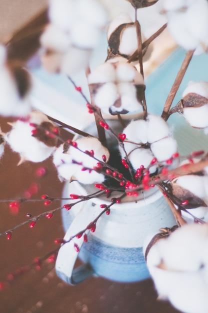 Zbliżenie Selekcyjna Ostrość Strzelająca Piękny Bawełniany Kwiat Darmowe Zdjęcia