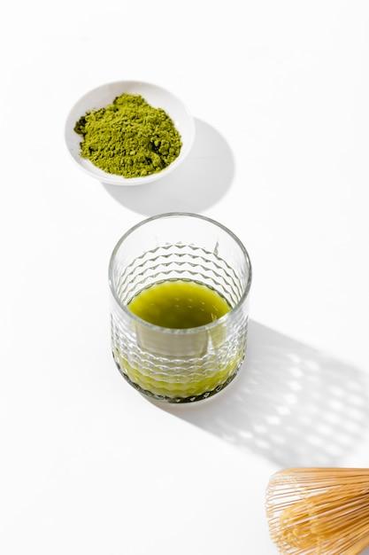 Zbliżenie Smaczne Szklanki Herbaty Matcha Darmowe Zdjęcia