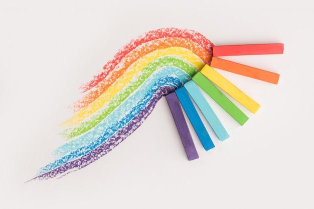 Zbliżenie Tęczowego Gradientu Wykonanego Z Pastelowej Kredki Kreduje Kolorowe ślady Darmowe Zdjęcia