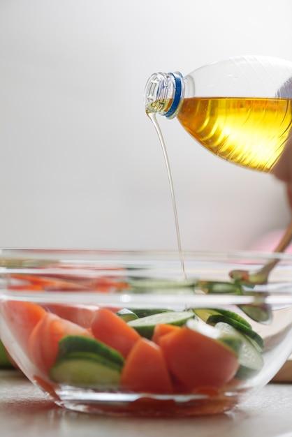 Zdrowe Jedzenie Koncepcja Z Oliwy Z Oliwek I Warzyw Zdjecie
