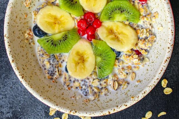 Zdrowe Jedzenie Smoothie Miska Płatki Owsiane Chia Premium Zdjęcia