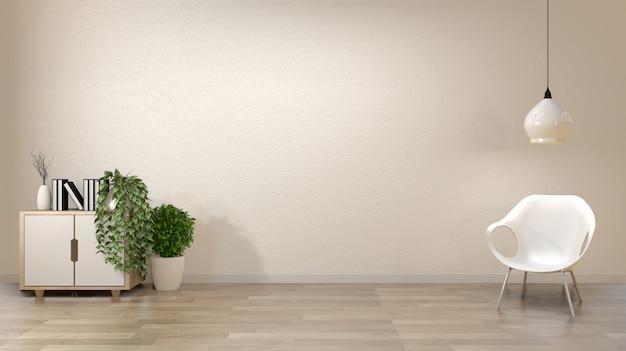 Zen salonu pusty biały ścienny tło z dekoraci japan stylem. Premium Zdjęcia