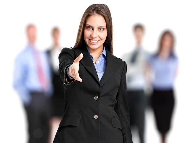 Żeński kierownik daje ci jej ręce przed jej drużyną Premium Zdjęcia