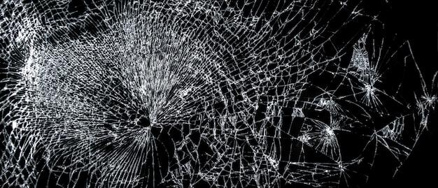 Zepsuty Ekran Telefonu, Duże Pęknięte Szkło Na Czarnym Tle Premium Zdjęcia