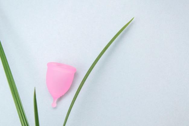 Zero Odpadów. Koncepcja Zdrowia Kobiet. Przyjazne Dla środowiska. Różowy Kubek Menstruacyjny Na Szaro Premium Zdjęcia