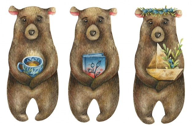 Zestaw Akwareli Słodkie Niedźwiedzie Brunatne Trzymające W łapach Papierową łódkę Z Gałęzią Niebieskich Jagód, Książkę I Niebieską Filiżankę Herbaty. Premium Zdjęcia