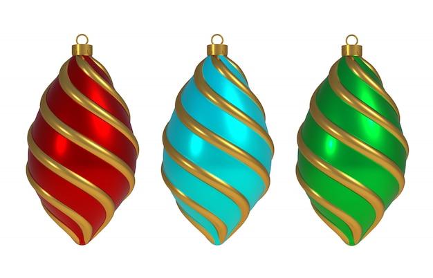 Zestaw Bombki W Paski Boże Narodzenie Premium Zdjęcia