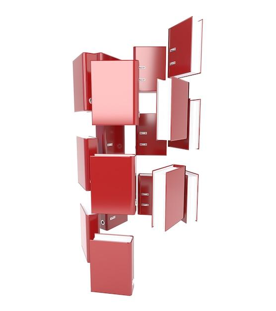Zestaw czerwony folder na białym tle. drzewo katalogów. 3d ilustracja. Premium Zdjęcia