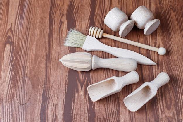 Zestaw Drewnianych Przyborów Kuchennych, Widok Z Góry Darmowe Zdjęcia