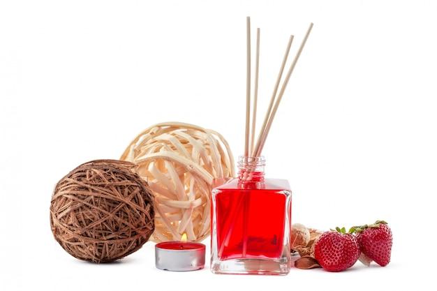 Zestaw Dyfuzorów Zapachowych Butelka Z Laskami Zapachowymi (dyfuzory Trzcinowe) Premium Zdjęcia