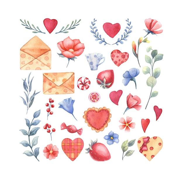 Zestaw Elementów Akwarela Na Walentynki. Premium Zdjęcia