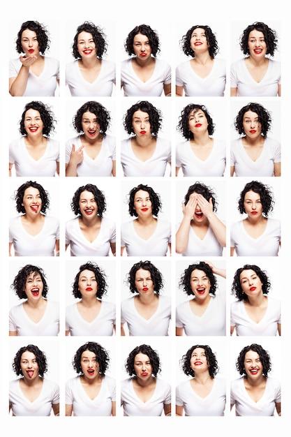 Zestaw Emocji Młodej Pięknej Kobiety. Jasna Brunetka Z Kręconymi Włosami I Czerwoną Szminką. Białe Tło. Pionowy. Premium Zdjęcia