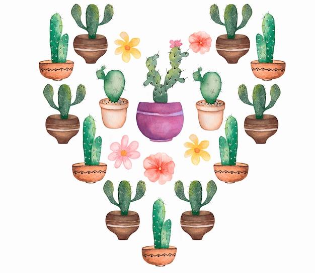 Zestaw Kaktusów Akwarela. Tropikalny Zestaw Kwiatowy. Walentynki Kaktusowe Serce. Zestaw Roślin Domowych. Kaktus Clipart. Kaktus Z Kwiatami W Doniczce. Premium Zdjęcia