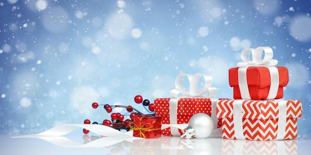 Zestaw Pięknie Zapakowanych Pudełek Prezentowych Na Niebieskim Tle. Premium Zdjęcia