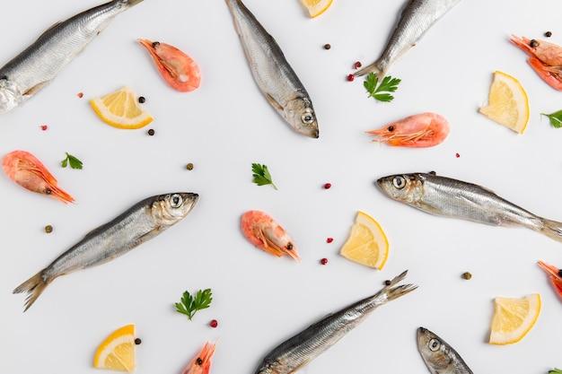 Zestaw Ryb I Krewetek Z Cytryną Darmowe Zdjęcia