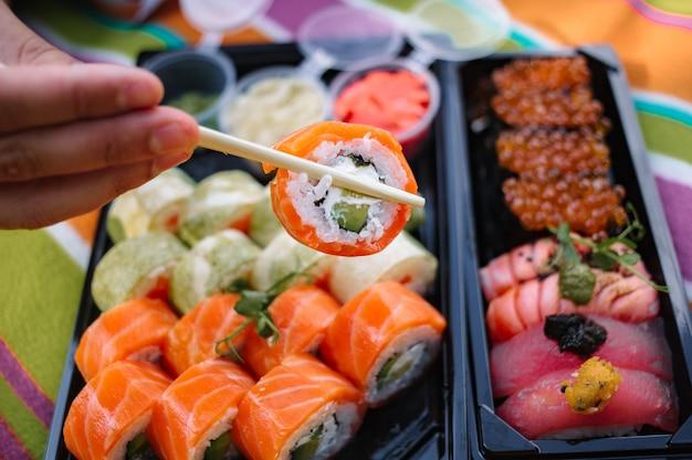 Zestaw Sushi Z Bliska Premium Zdjęcia