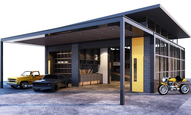 Zewnętrzny I Wewnętrzny Garażu Loft Przemysłowy Styl Z Samochodu Renderingiem 3d Premium Zdjęcia