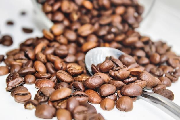 Ziarno kawy. kubek kawy. selektywna ostrość. Premium Zdjęcia