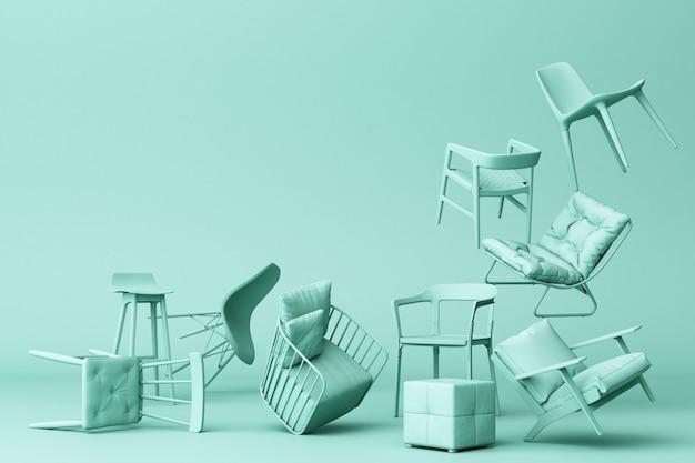 Zieleni pastelowi krzesła w pustym zielonym tle pojęcie minimalizmu & instalaci sztuki 3d rendering Premium Zdjęcia