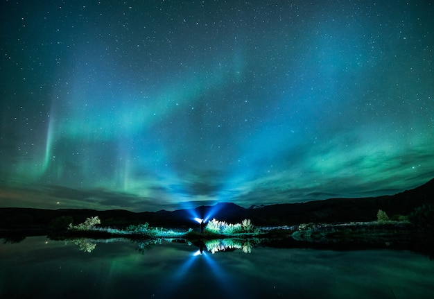 Zielona Aurora świeci Nad Zbiornikiem Wodnym Darmowe Zdjęcia