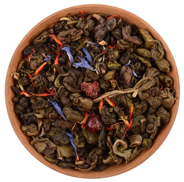 Zielona Herbata Na Białym Tle Premium Zdjęcia