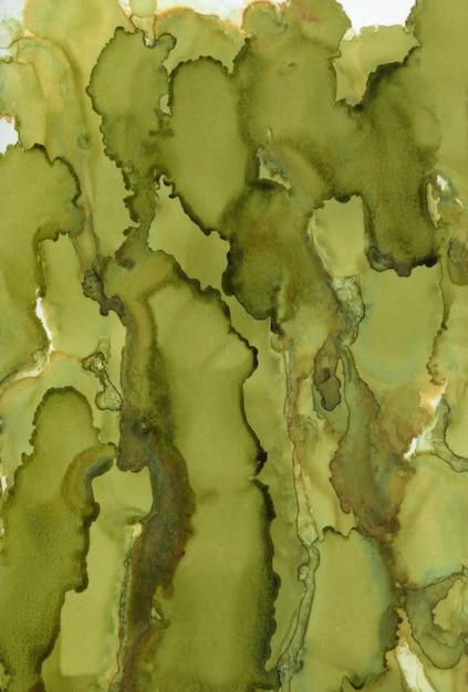 Zielone malarstwo abstrakcyjne tło. malowane tuszem tekstury. Premium Zdjęcia