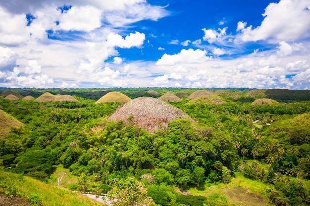 Zielone niezwykłe wzgórza czekoladowe w bohol na filipinach Premium Zdjęcia