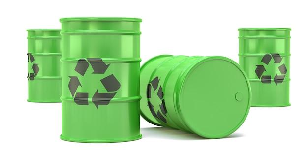Zielone przetwarzać jałowe baryłki odizolowywać na bielu. Premium Zdjęcia