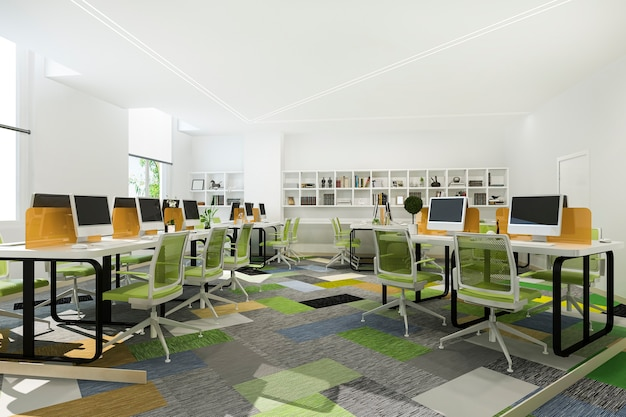 Zielone Spotkanie Biznesowe I Pokój Do Pracy W Biurowcu Z Regałem Darmowe Zdjęcia