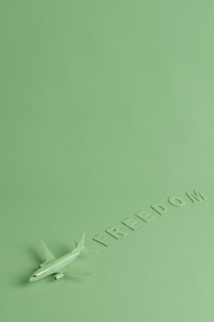 Zielone tło z samolotu zabawka Darmowe Zdjęcia