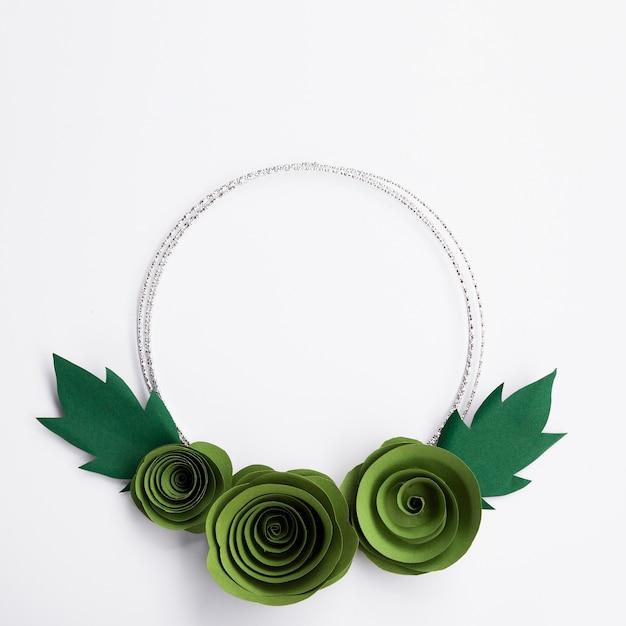 Zielonego Papieru Kwiatów Rama Na Białym Tle Darmowe Zdjęcia