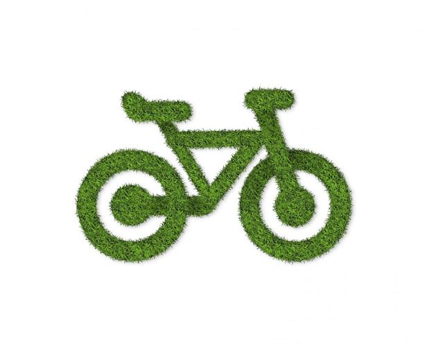 Zielonej Trawy Bycicle Odizolowywający Na Bielu Premium Zdjęcia