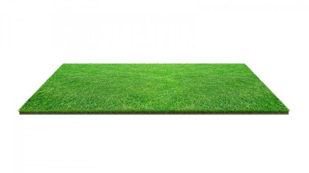 Zielonej trawy pole odizolowywający na bielu z ścinek ścieżką. Premium Zdjęcia