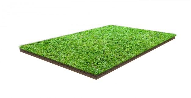 Zielonej trawy pole odizolowywający na bielu z ścinek ścieżką Premium Zdjęcia
