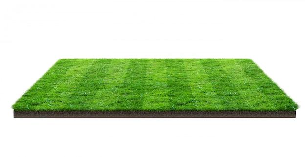Zielonej trawy pole odizolowywający z ścinek ścieżką. boisko sportowe. letnie gry zespołowe. Premium Zdjęcia
