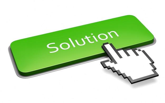Zielony Przycisk Rozwiązania Premium Zdjęcia