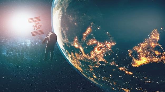 Ziemia Oświetlała Sylwetkę Spacerowicza Na Międzynarodowej Stacji Kosmicznej Na Orbicie Planety. Jasne Słońce Premium Zdjęcia