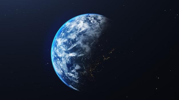 Ziemia W Kosmosie Z Błyszczącym Wschodem Słońca Na Tle Wszechświata I Galaktyki. Koncepcja środowiska Przyrody I świata Premium Zdjęcia
