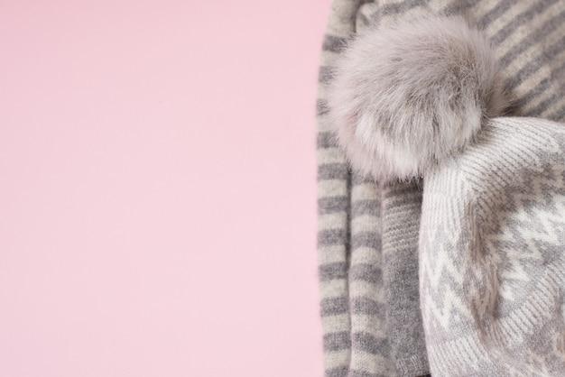 Zima Sukienna Czapka Na Różowo, Copyspace Premium Zdjęcia