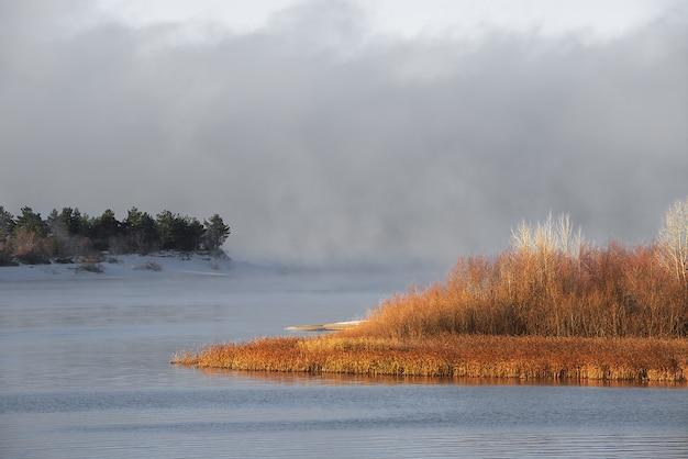 Zimowa Mroźna Mgła Na Niezamarzniętej Rzece. Zielone Choinki I Trawa Na Brzegach. Premium Zdjęcia