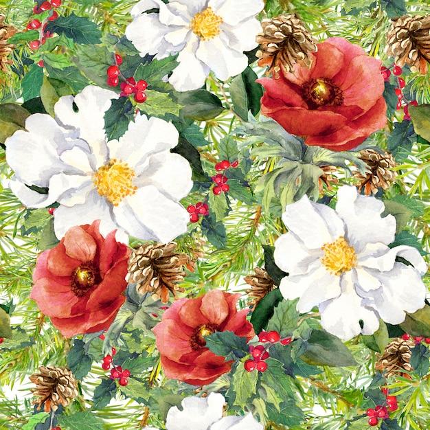 Zimowe kwiaty, gałęzie sosny, szyszki, jemioła. boże narodzenie bez szwu. akwarela Premium Zdjęcia
