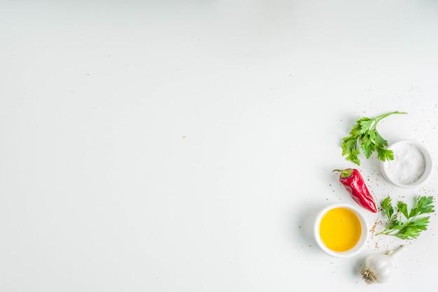 Zioła i przyprawy gotowania tła Premium Zdjęcia