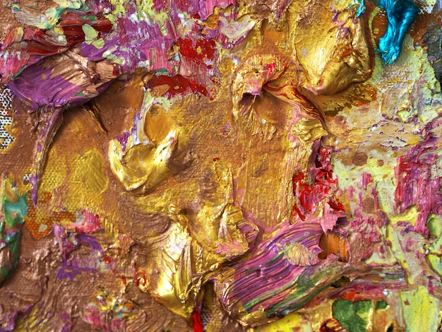 Złocisty Kolorowy Koloru Obrazu Olejnego Tekstury Abstrakta Tło. Premium Zdjęcia