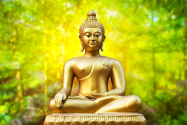 Złota Buddha Statua Na Złotym Zielonym Bokeh Tle Premium Zdjęcia
