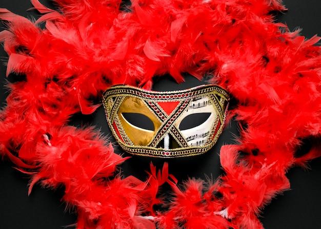 Złota Karnawałowa Maska Z Czerwonym Boa Z Piór Darmowe Zdjęcia