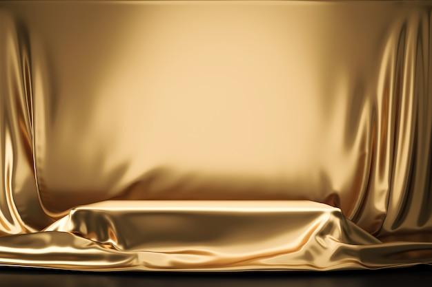 Złota Luksusowa Tkanina Lub Materiał Umieszczony Na Najwyższym Cokole Lub Pustej Półce Na Podium Na Złotej ścianie Z Luksusową Koncepcją. Tła Muzeum Lub Galerii Dla Produktu. Renderowanie 3d. Premium Zdjęcia