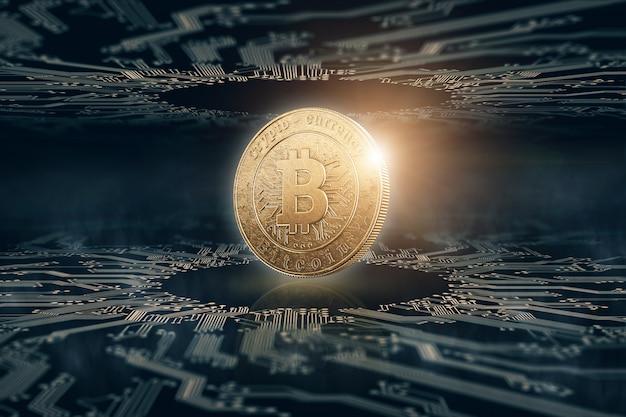 Złota Moneta Bitcoin Na Czarnym Tle. Premium Zdjęcia