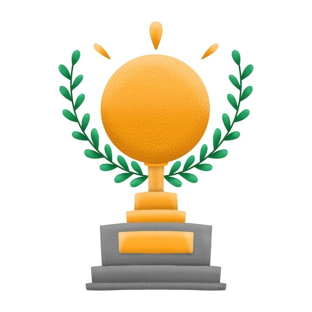 Złota Nagroda Lub Trofeum Z Wieńcem Z Zielonych Liści. Pojedynczo Na Białym Tle. Premium Zdjęcia