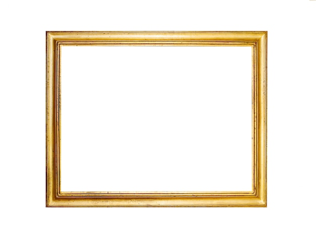 Złota ramka na białym tle Premium Zdjęcia